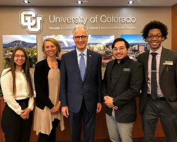 Mark Kennedy with CU Students
